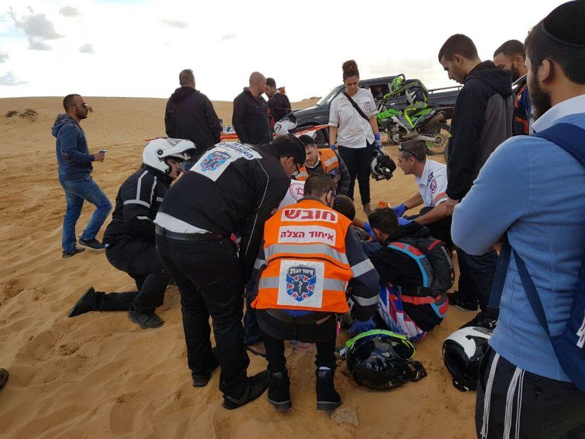 תאונת טרקטורון קשה בדיונות אשדוד