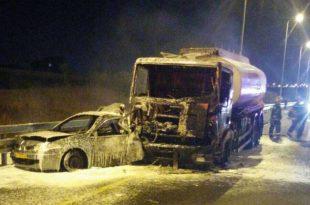 תאונה בין משאית לרכב פרטי - עומסי תנועה כבדים במקום