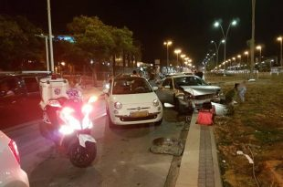 תאונה קשה בין 4 כלי רכב באשדוד - פצועים במקום