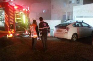 שני נפגעים קל משאיפת עשן בעקבות שריפה בדירה