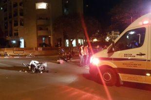 רוכב אופנוע נפצע בתאונה