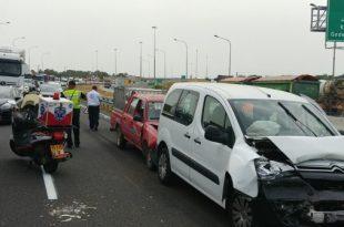 עומסי תנועה כבדים בכניסה לעיר בעקבות תאונת שרשרת