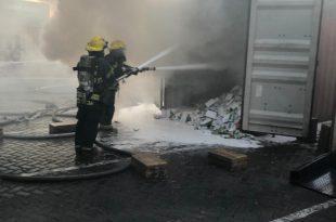 שריפה במכולה בעורף נמל אשדוד שהכילה 4.5 טון טאבלטים